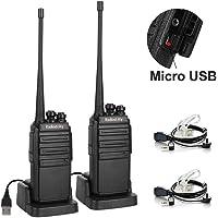 Radioddity GA-2S Talkie Walkie Professionnel Longue portée Radio bidirectionnelle UHF Rechargeable avec Chargement Micro USB + Chargeur de Bureau USB + écouteur Acoustique avec Micro, Paquet de 2