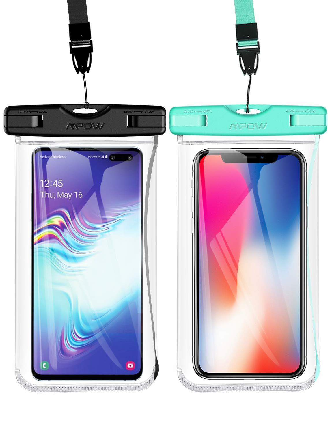 Mpow Waterproof Phone Pouch, New Type TPU Waterproof Case, One-Piece Design Underwater Cellphone Dry Bag Compatible with iPhone Xs Max/XS/XR/X, Galaxy S10, Note 9, Google up to 6.5 Inches(Black+Green) by Mpow