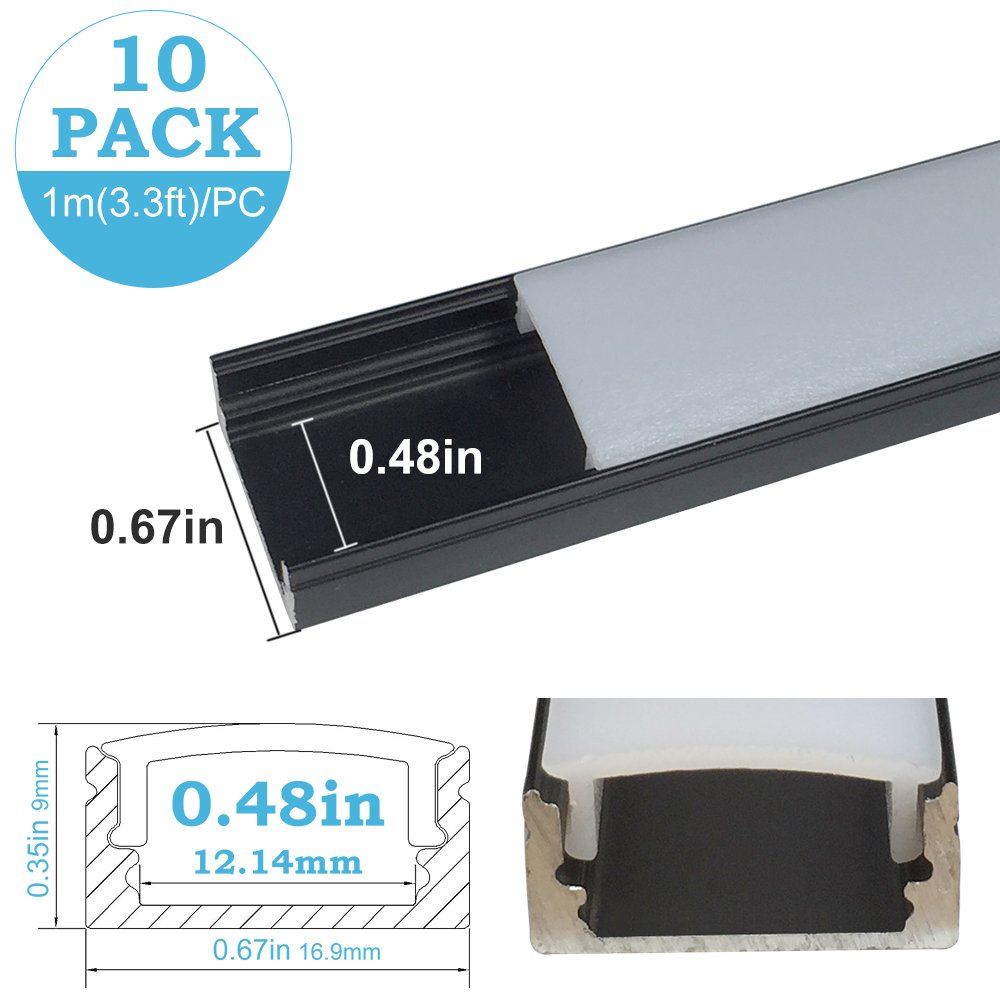 inShareplus 10Pack 3.3FT/1M LED Aluminum Channel U Shape Track with Oyster White Cover, End Caps and Mounting Clips for 0.48in(12mm) 3528 5050 LED Strip Light Installation
