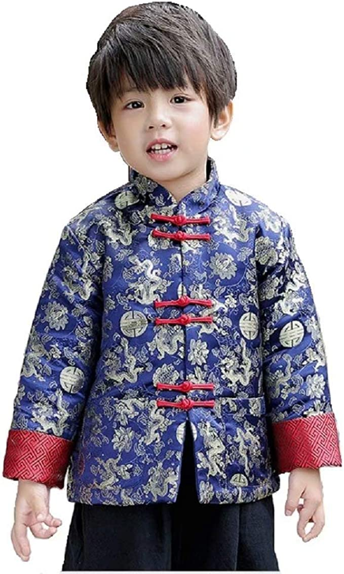 Height 120-130cm LG Boys Traditional Chinese New Years Coat Top Blazer Clothing for Kids Children Costume Tang Jacket Red, 8 to 9 Years Old