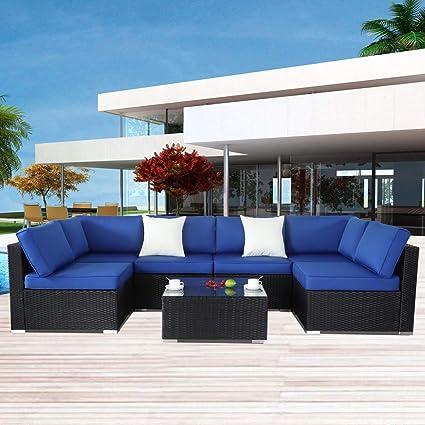 Amazon Com Patio Furniture Sofa Outside Couch Pe Black Wicker 7pcs