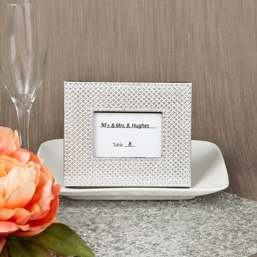 100-silver-metallic-photo-frame-or-placecard-holder-with-textured-leatherette-diamond-finish