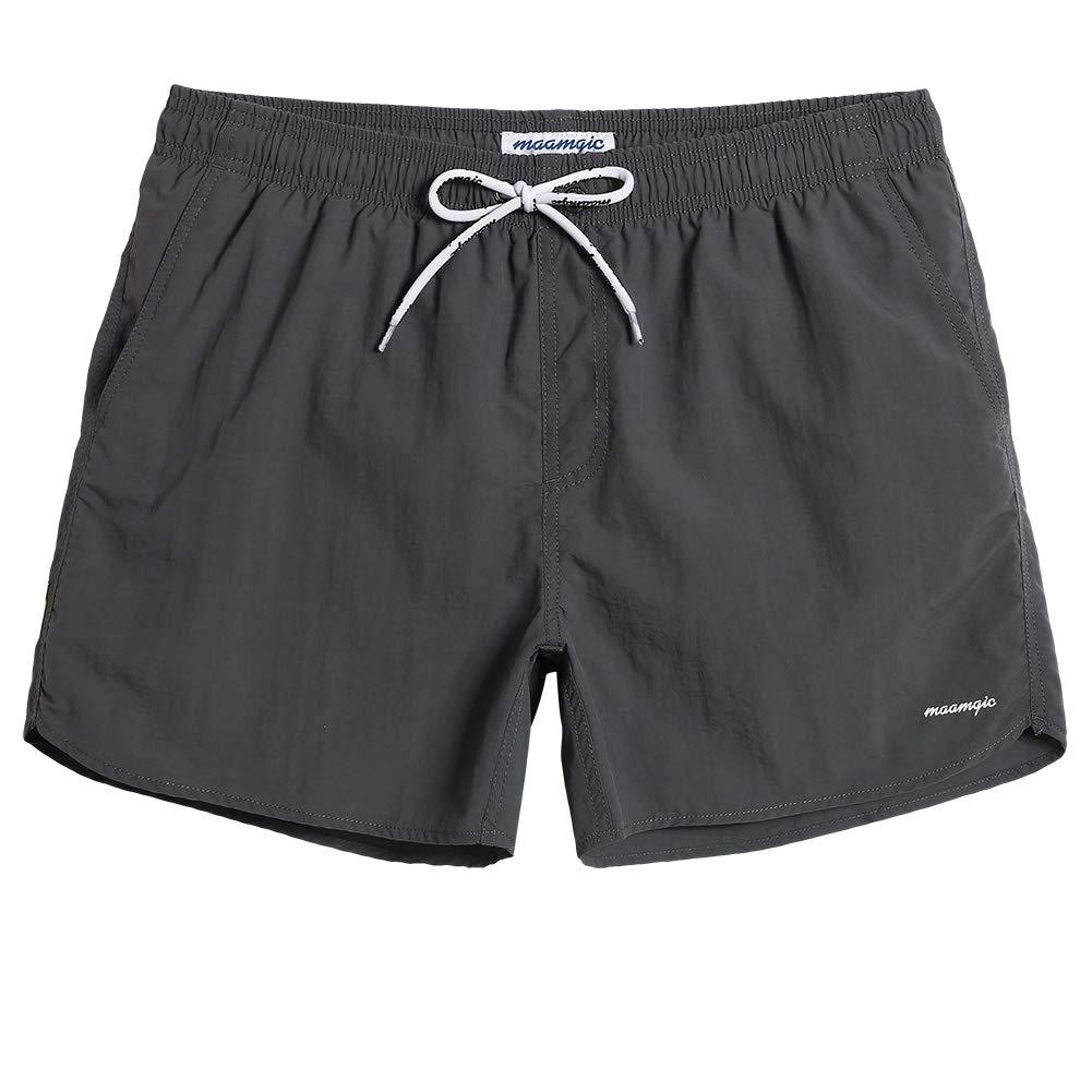 9954308c261 MaaMgic Mens Boys Short Solid Swim Trunks with Mesh Lining Quick Dry Mens  Bathing Suits Swim Shorts, Grey   Amazon.com