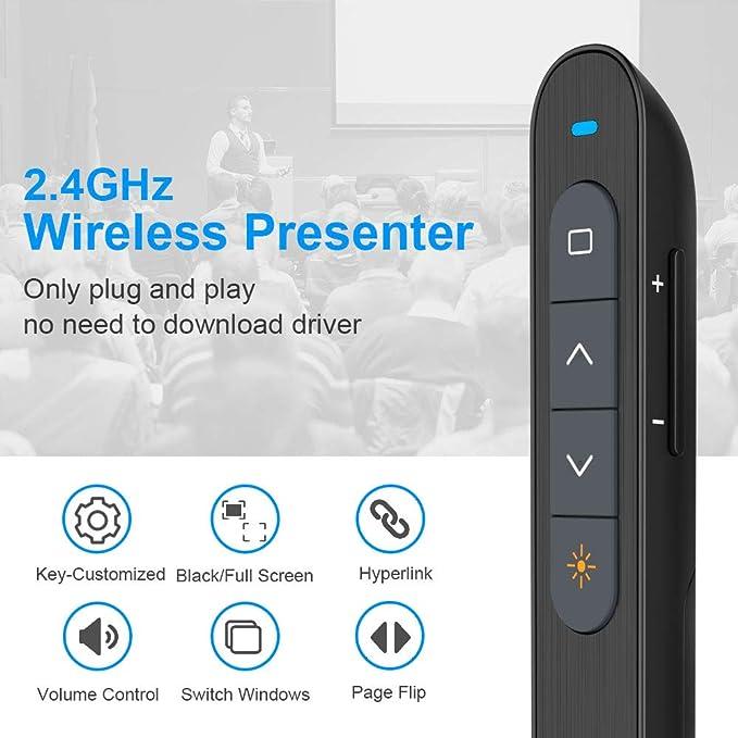 Multifunktionaler Presenter Knorvay N27 Laserpointer Powerpoint Fernbedienung 100m Wireless Presenter Laserpointer Präsentation Präsentationsfernbedienung Unterstützt Hyperlink Lautstärkeregler Bürobedarf Schreibwaren