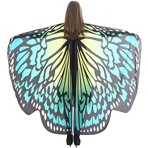 FarJing Women Shawl Scarves Ladies Nymph Pixie Poncho Butterfly Wings Costume Accessory(Green D