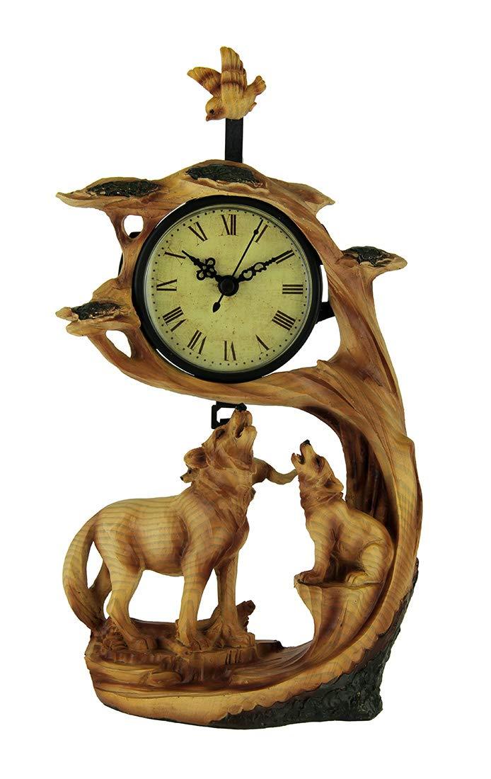 Everspring Wolf Family Safari Carved Wood Look Clock Figurine