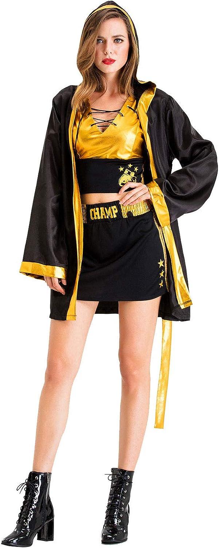 dingnengshop Disfraz de Boxeadora Animadora para Mujer Abrigo con Capucha Pantalon Corto del Color Amarillo Brillante para Halloween Fiesta Cosplay