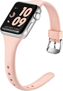 Laffav Compatible with Apple Watch Band 38mm 40mm for Women Men, Soft Silicone Slim Thin Narrow Small Wristband for iWatch SE & Series 6 & Series 1 2 3 4 5, Pink Sand, S/M