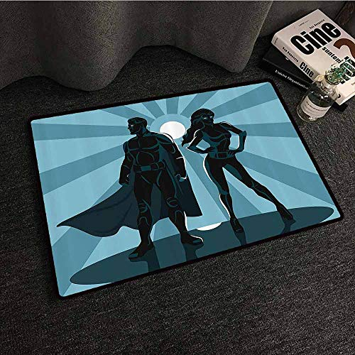 Superhero Outdoor Door mat Man and Woman Superheroes Costume with Masks and Capes Night Protector in Moonlight Quick and Easy to Clean W30 xL39 Blue Teal -