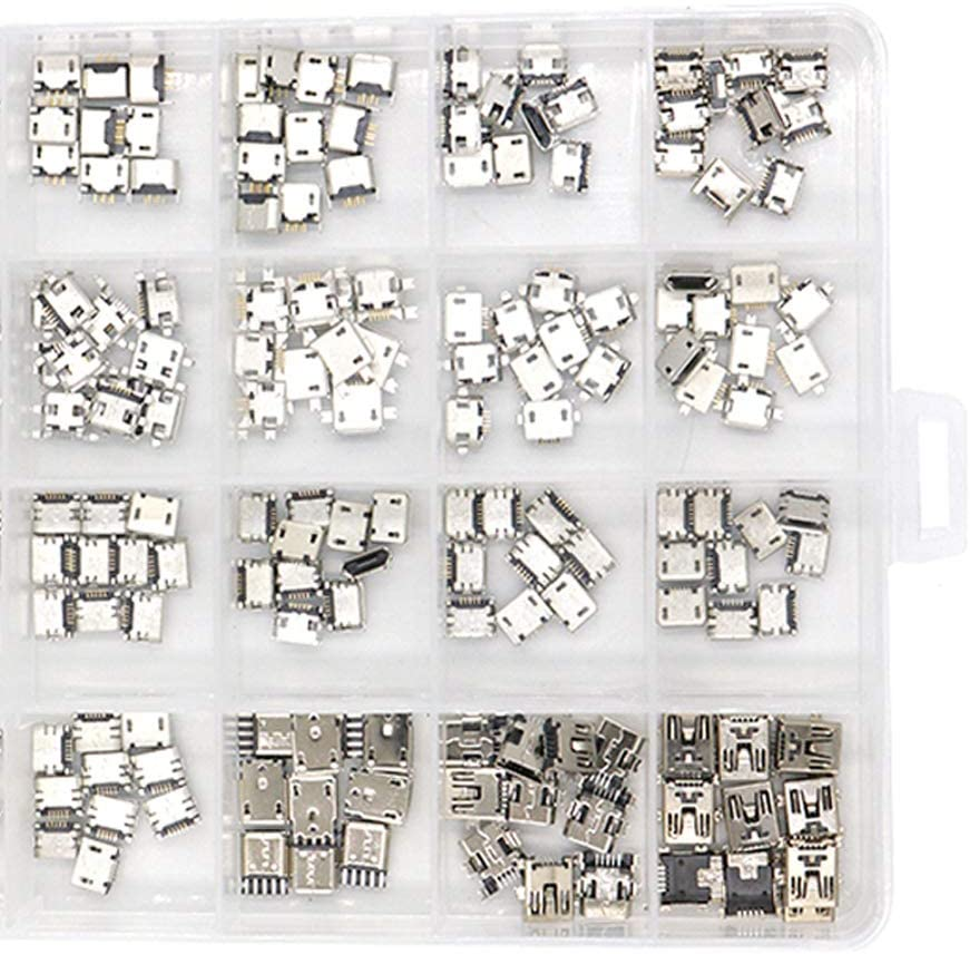 15 models, 10pcs each 150pcs//box Micro USB Connector Pin Set Kecheer Multi-specification Micro USB Connector Adapeter Charge Female SMT Socket Jack Set,