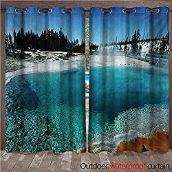 BlountDecor Yellowstone Grommet Curtain Panel Hot Clear Spring and Evergreen Forest in Yellowstone Snowy Wintertime ViewW120 x L108 Turquoise Blue