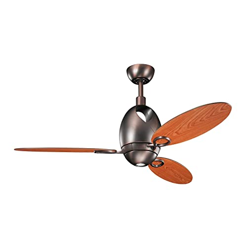 Kichler 300155OBB Merrick 52-Inch Ceiling Fan, Oil Brushed Bronze Finish with Reversible Walnut Cherry Blades and Integrated Downlight