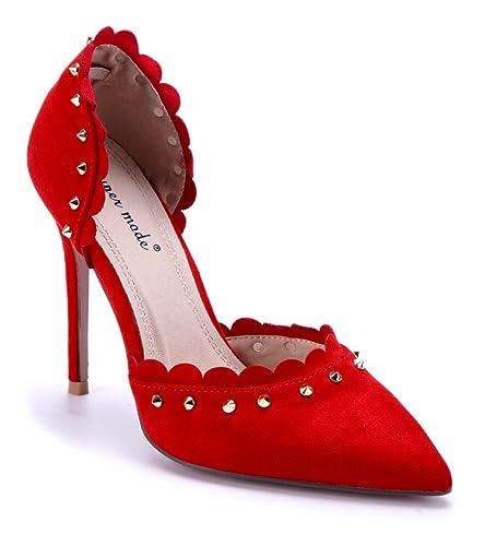 Schuhtempel24 Damen Schuhe Klassische Pumps Stiletto Nieten 10 cm High Heels