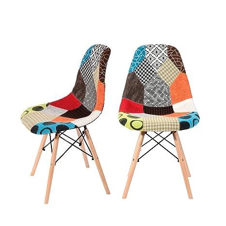 Panana 2 x Retro Patchwork Silla Tela Comedor sillas de salón de Madera hogar Oficina Silla de Comedor