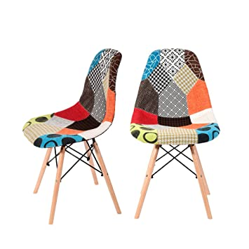 Charmant 2Pcs Retro Patchwork Chair Fabric Dining Lounge Chairs