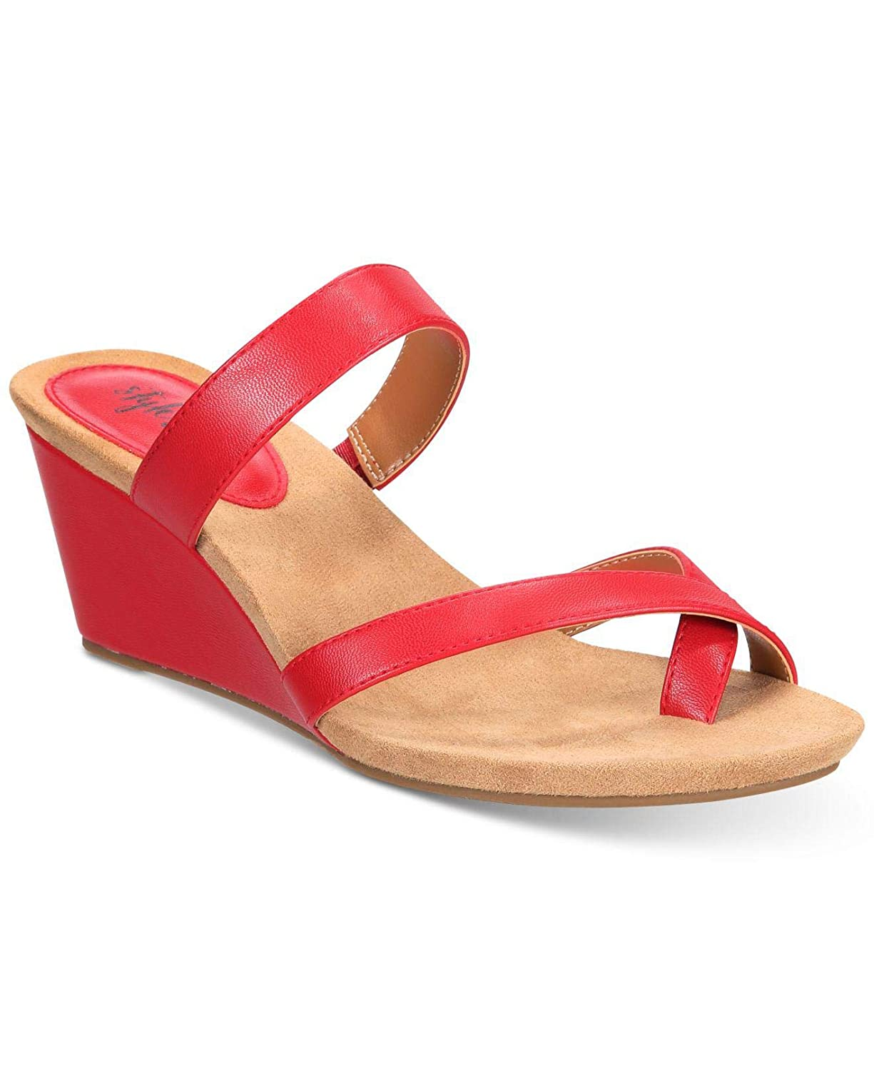 Lady Bug Style & Co. Womens Madelaa Toe Loop Faux Leather Wedge Sandals