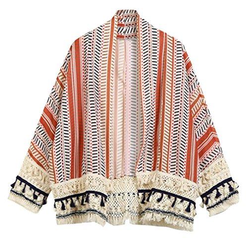 2017 Cardigan Bohme Dentelle Gland Ray Floral Imprim Kimono Manteau Court Automne Casual Trench Femme Longra Chic Mode Rtro lgant Oversized Pas cher Chale Outwear Chemisier Rouge