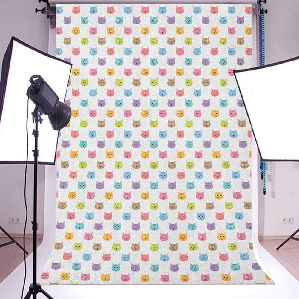 8x12 FT Cat Vinyl Photography Backdrop,Colorful Pattern of Faces Kids Boys Girls Nursery Design Domestic Lovely Pets Meow Background for Baby Birthday Party Wedding Studio Props Photography