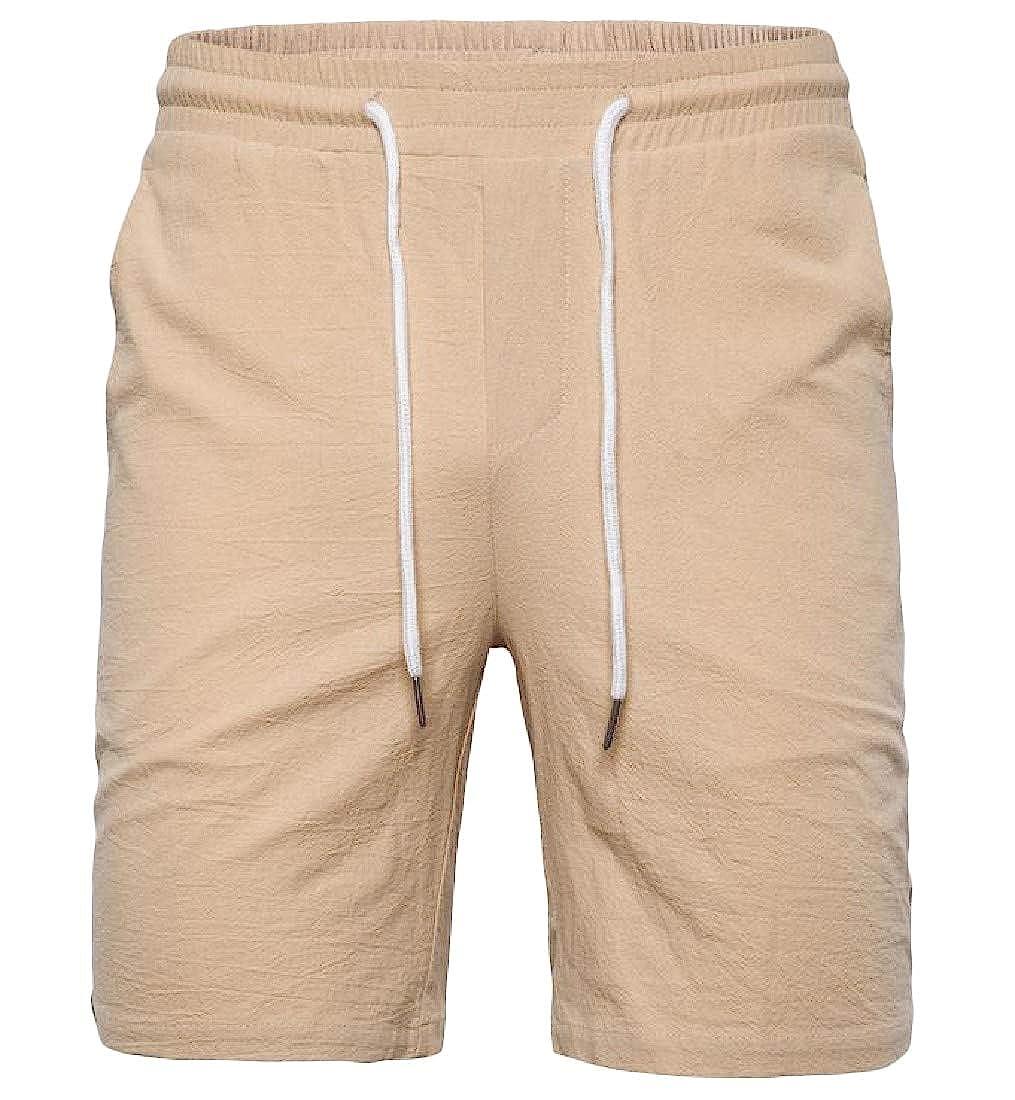 Lutratocro Mens Summer Straight Leg Holiday Pure Colour Drawstring Swim Trunks Shorts