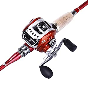 Sougayilang Spinning Baitcasting Fishing Rod with Fishing Reel Combos Left/right