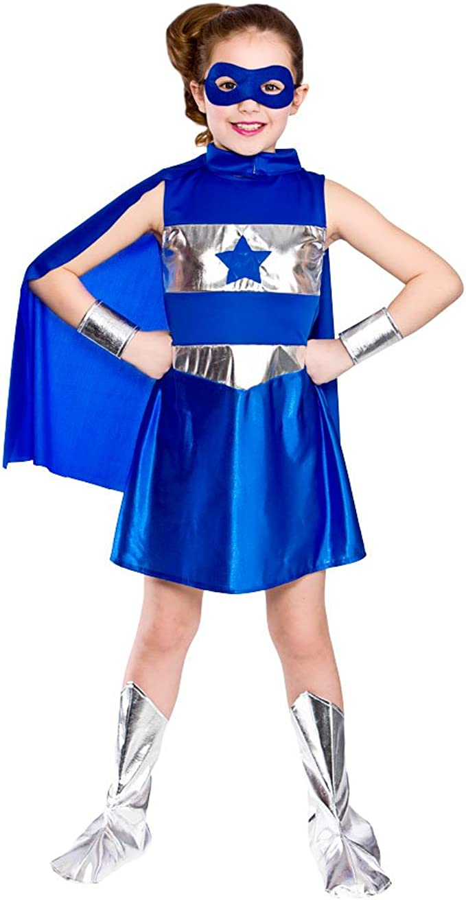 Wicked Costumes - Disfraz de superheroína para niña, color azul ...