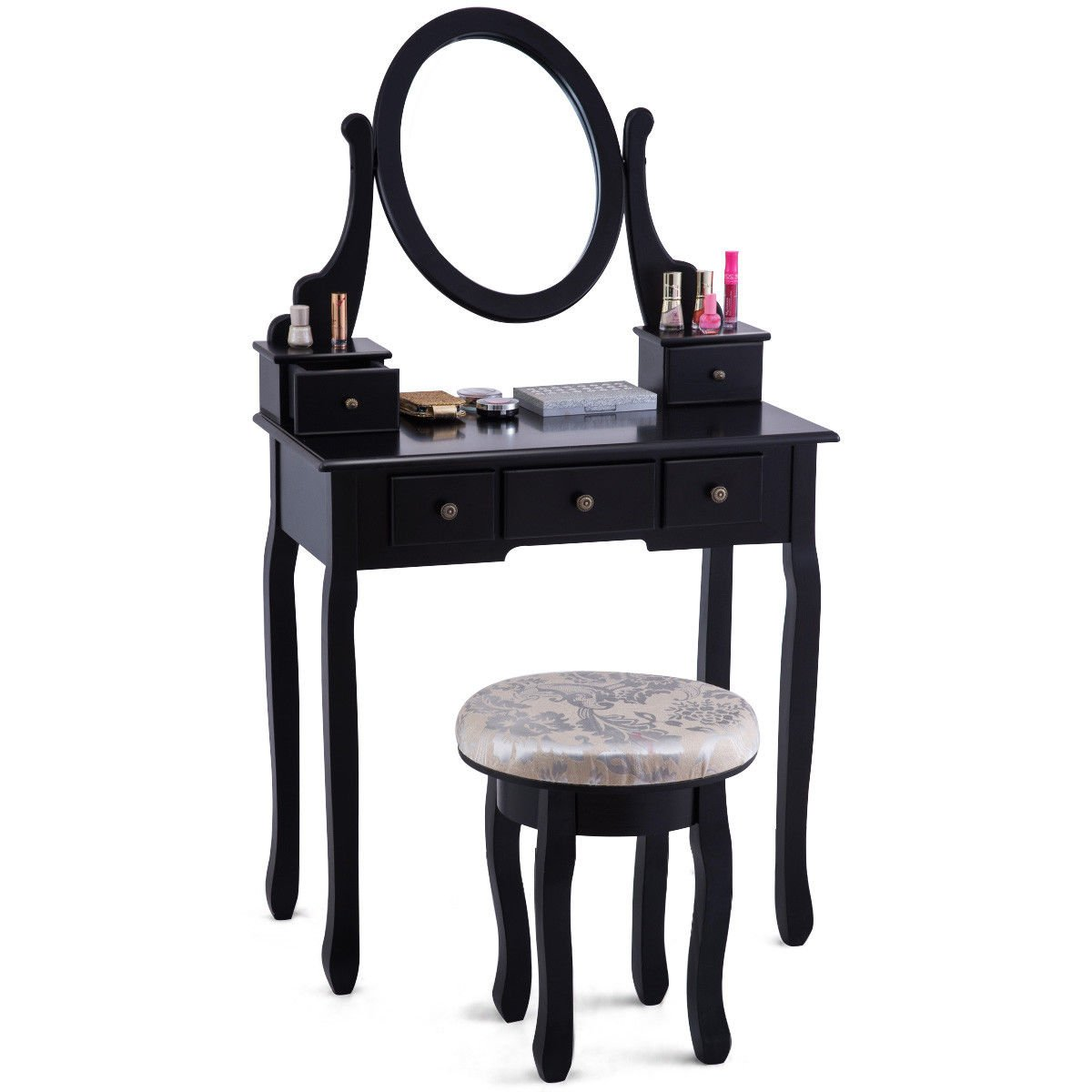 Giantex Vanity Makeup Table Set Bedroom Furniture with Cushioned Padded Stool & 5 Drawer Round 360 Degree Rotation Swivel Mirror Dressing Table Stool Wooden Vanity Set (Black with 5 Drawer)