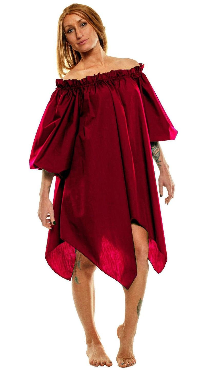 Women's Renaissance Peasant Pirate Wench Fairy Burgundy Chemise - DeluxeAdultCostumes.com