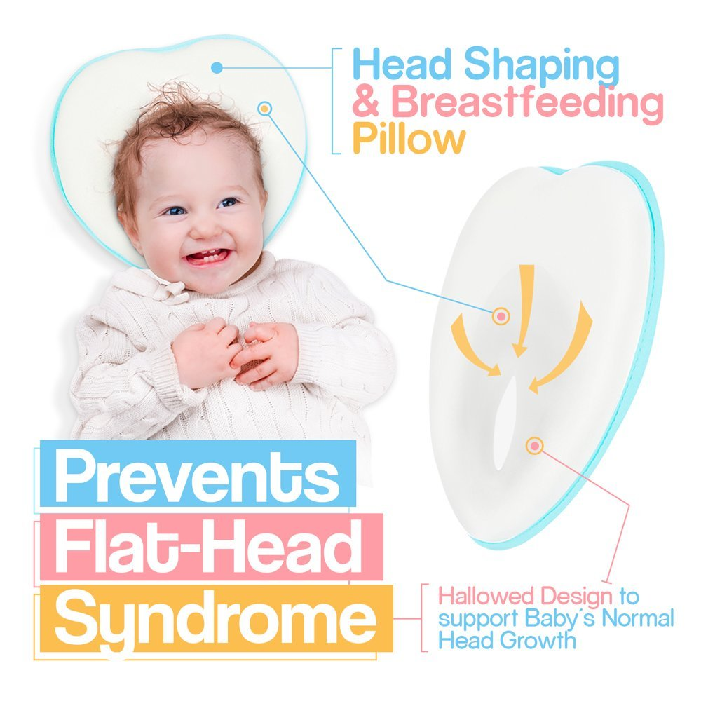 Newborn Baby Pillow Memory Foam Cushion for Flat Head Syndrome Prevention and Head Support