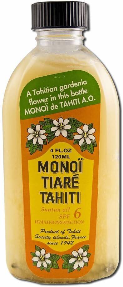 Monoi Tiare Tahiti Suntan Oil SPF 6 Protection Solaire Tiare Gardenia 4 fl oz 120 ml