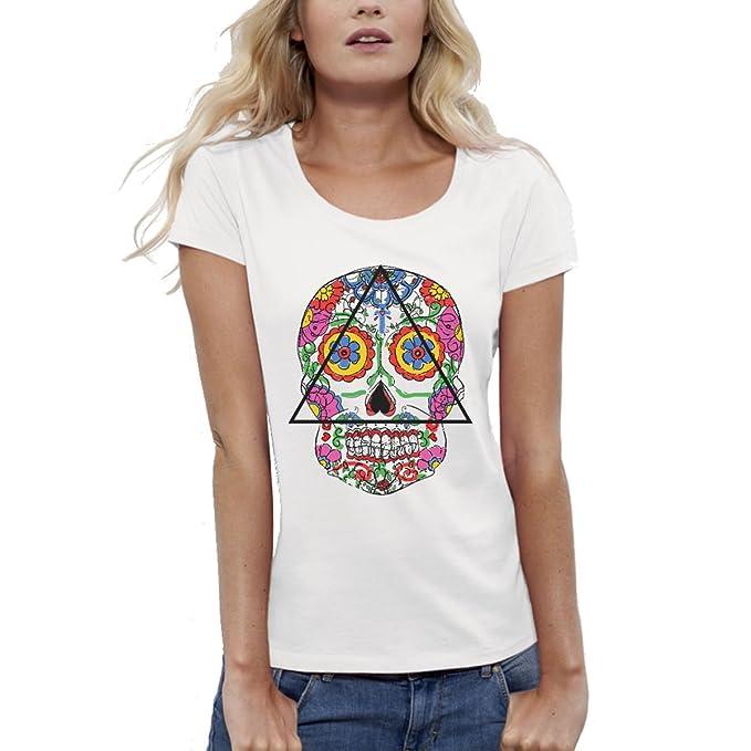 Bio-Camiseta de manga corta, diseño estampado, color blanco-mujer-Santa Muerte del XS a XL: Amazon.es: Ropa y accesorios