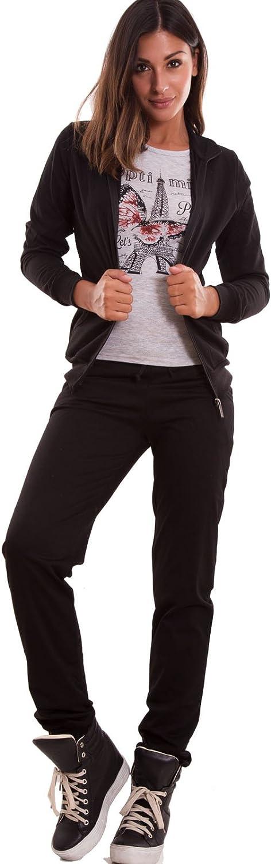 Tuta donna completo tre pezzi pantaloni felpa maglia t-shirt cotone nuova TK-77