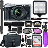 Canon EOS M6 Mirrorless Digital Camera with 18-150mm Lens (Silver) + Professional Video Kit with 32GB Memory, HD Filters, Monopod, Spider Tripod, Canon Gadget Bag & More.