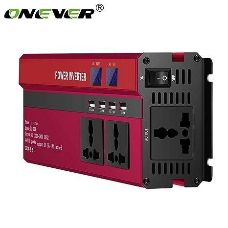 ONEVER 5000W de Potencia del inversor Solar del Coche LED DC 12V a 220V CA de