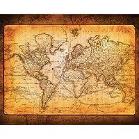 Mapa del mundo de Culturenik, antiguo vintage, estilo decorativo, educativo, impresión de póster, 16x20 sin marco