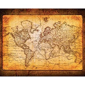 Culturenik World Map Antique Vintage Old Style Decorative Educational Classroom Poster Print