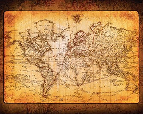 Poster Map World Old (Culturenik World Map Antique Vintage Old Style Decorative Educational Poster Print, 16x20 Unframed)
