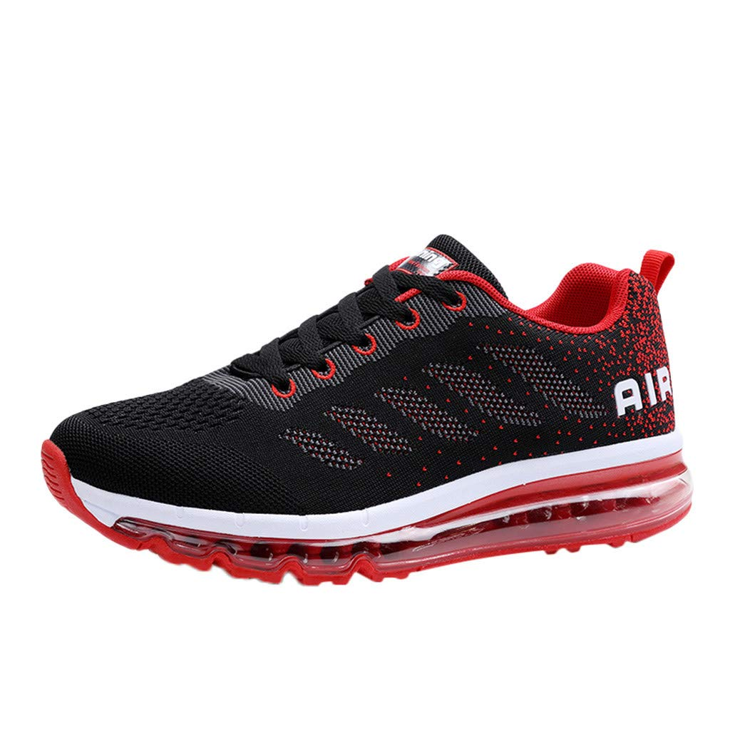 Shusuen Womens Mens Walking Casual Shoes Air Cushion Running Jogging Gym Sports Sneakers Red by Shusuen_shoes