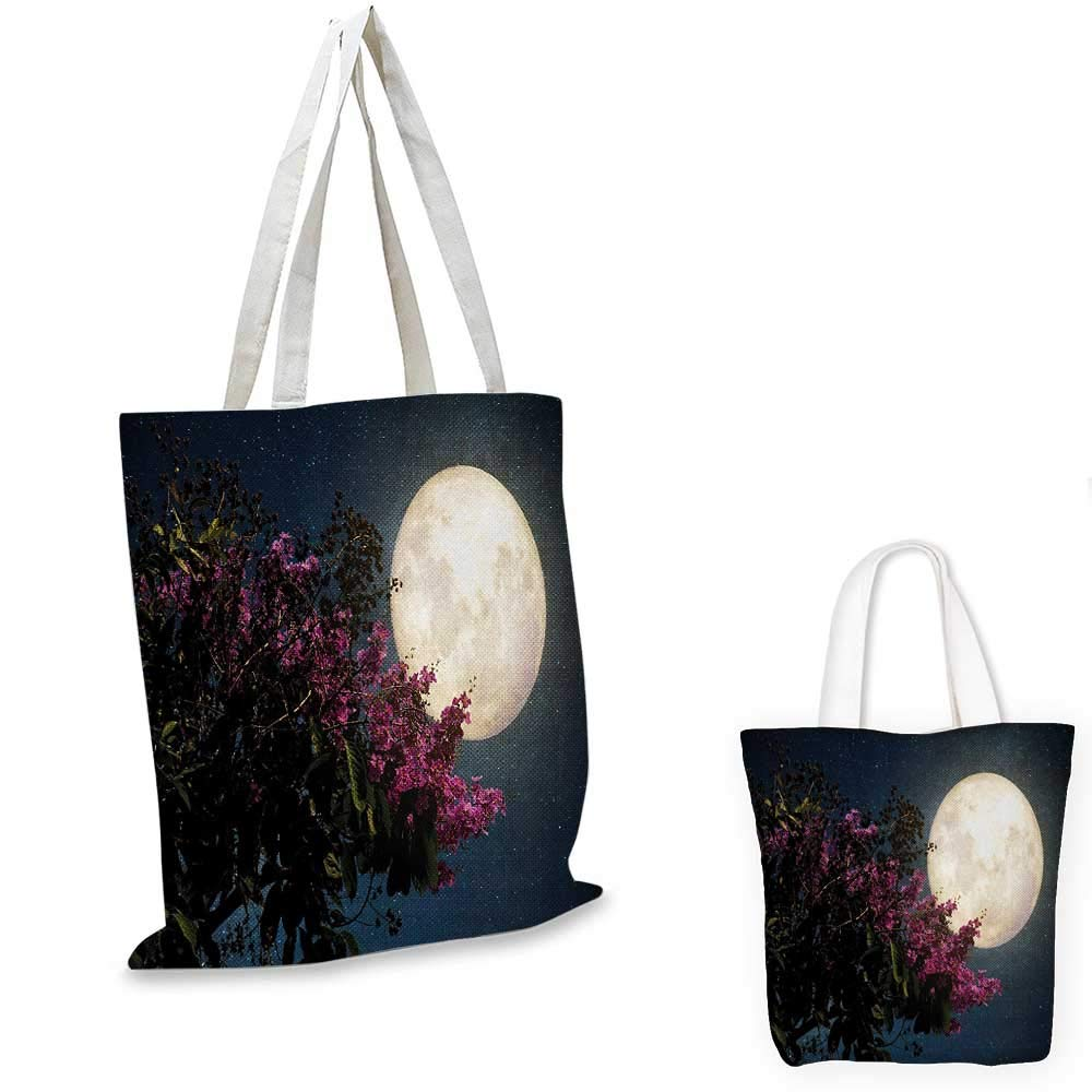 Moon canvas messenger bag Cherry Blossom with Stars from Milky Way Eastern Night Sky Full Moon canvas beach bag Magenta Ivory Dark Blue 12x15-10