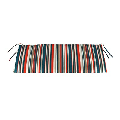 Plow & Hearth Polyester Classic Swing/Bench Cushion, 47 x 16 x 3 - Cambridge Stripe : Garden & Outdoor