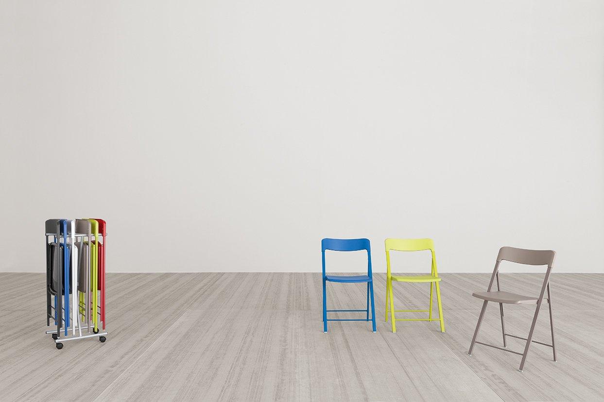 Milani Juego de 6 sillas plegables Palma con carro, color ...
