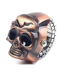 Bold N Elegant - Be Bold Inside & Elegant Outside Bronze Coloured Metallic Skull Head Punk Style Adjustable Finger Ring Watch for Women