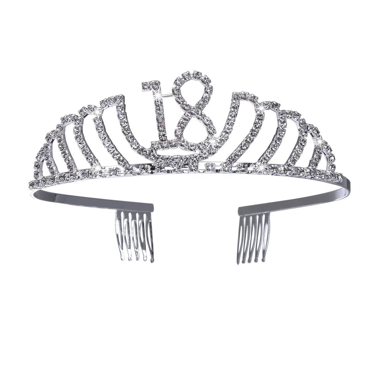 Frcolor 80th Birthday Tiara Crystal Rhinestone Birthday Tiara Queen Crowns Headband With Hair Combs Clip