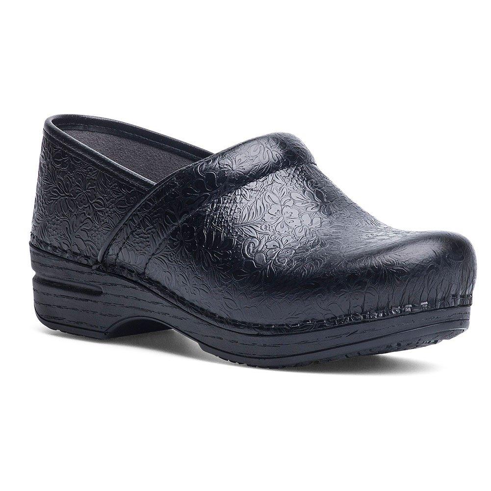 BLACK FLORAL Dansko Women's Professional Box Leather Clog