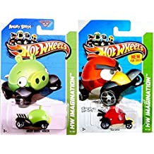 2012 Hot Wheels Hw Imagination Angry Birds Set of 2 - Red Bird & Minion Pig