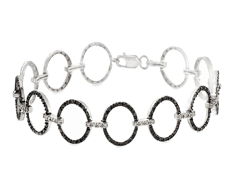 1.10 CTTW Sterling Silver Black & White Diamond bracelet