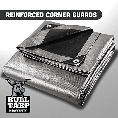 Bull-Tarp Super Heavy Duty, Silver/Black, Waterproof, Tent Shelter, Tarpaulin, Fire Wood Cover, Multi-Purpose Heavy Duty Poly Tarp, Reinforced Grommets Every 18'' (20X20) by Bull Tarp (Image #1)