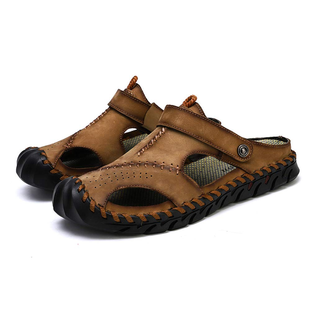 Leather Sandals for Men 2019 New Casual Lightweight Hiking Beach Water Shoes (US:8, Khaki 5) by Yihaojia Men Shoes