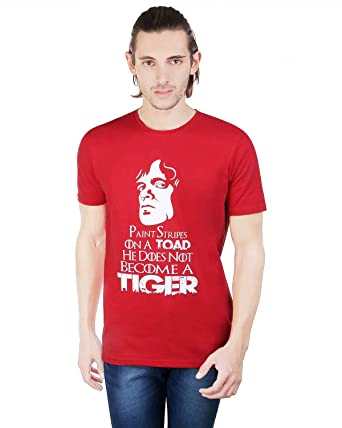 PRINLAY Casual Cotton Red T-Shirt For Men: Amazon.in: Clothing ...