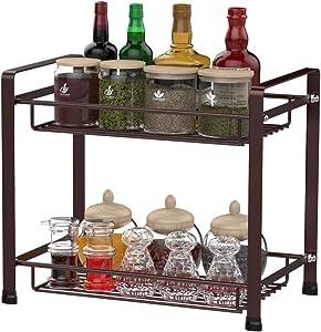 Spice Rack, Veckle 2 Tier Kitchen Bathroom Counter Rack Desktop Organizer Pantry Shelf Multipurpose Storage Standing Rack, Bronze