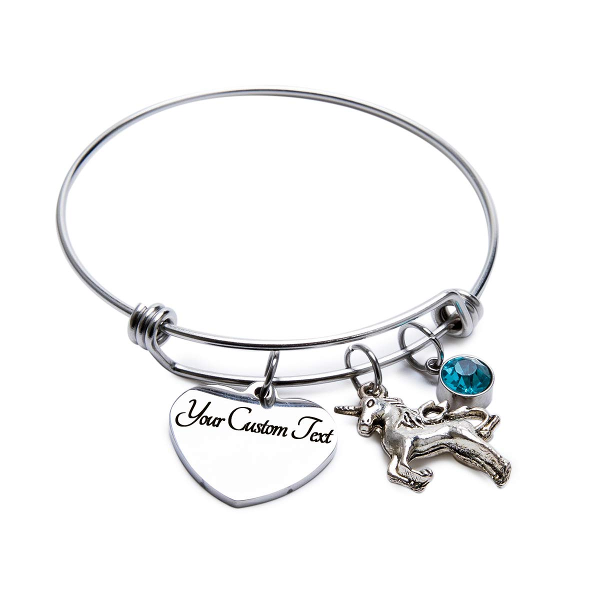 Fanery Sue Personalized Bangle Cuff Expandable Heart Charm Unicorn Bracelet Custom Engraved Name Message Choose Your Birthstone